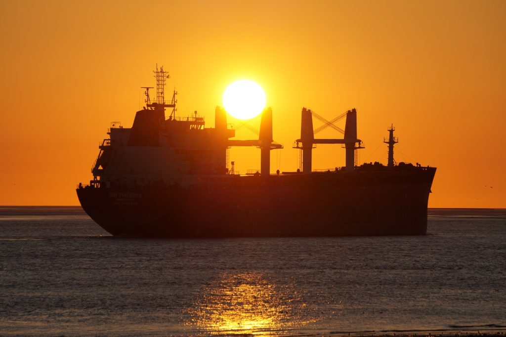 freighter, sunset, water